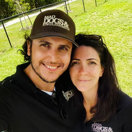 Kyle and Leticia. Owners of the Mad Dogs and Englishmen – Brisbane dog walking and doggy day care franchise