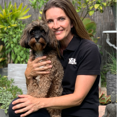 Petra, franchisee for Northbridge with her Mad Dog, Frida!